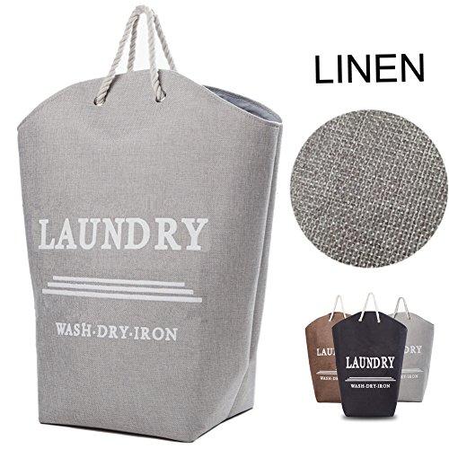Nattork cesto per la biancheria con manici in corda, con grande capacità, per camere da letto, armadi e bagno, colore nero grey