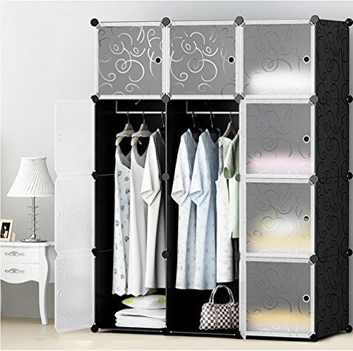 ETTBJA DIY guardaroba plastico portatile riccio decorato armadio con porte traslucido storage design tuo (12 cubi con 2 grucce)