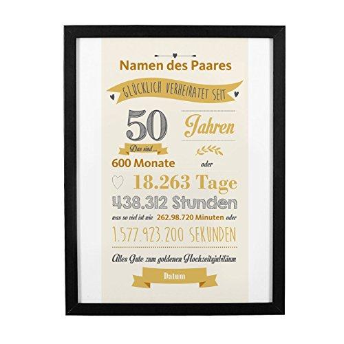 Herz & Heim® Bilderrahmen mit persönlichem Druck als Geschenk zur Goldenen Hochzeit