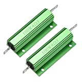 sourcing map 2 pcs Resistencias bobinadas de 100W 4 Ohmios LED verde para el convertidor de repuesto 100W 4RJ