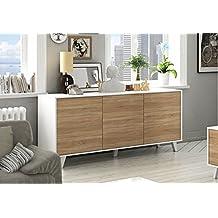 Aparador buffet estilo nórdico de 3 puertas, 6 estantes, color blanco brillo y roble canadian de salón comedor (medida: 154cm ancho x 75cm altura x 41cm fondo)