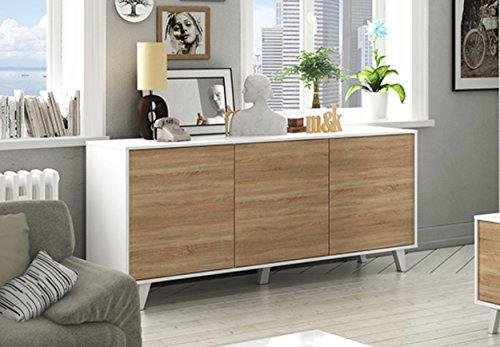 Aparador buffet estilo n rdico de 3 puertas 6 estantes for Muebles nordicos