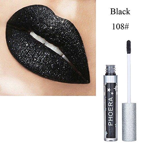 cysincos Flüssiger Lippenstift, Iridescent in der Holographisches Lange Metallic Lip Color Glitter...