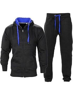 Herren Fitnessstudio Contrast Jogging Trainingsanzug Kapuzenpullis Top Vlies-böden Jogginghose Set