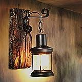 IACON Wandleuchten vintage Retro wandleuchte industrial Rustikal wandlampe antik Indoor E27 Laterne Lampe Wand Landhaus Antiken Nostalgie Wandbeleuchtung Beleuchtung Living Raum (A)