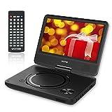 WONNIE 9,5'' Tragbarer DVD-Player, 4 Stunden Akku, schwenkbarer Bildschirm, Unterstützt SD-Karte, Auto-Ladegerät, USB Kopfhörer, Perfekte Geschenke für Kinder(Schwarz)