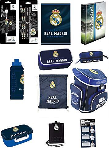 Real Madrid Exclusiv Set de Sacs Scolaires Sac à Dos ERGONOMIC Anatomic cartable et accessoires d'école 18 pièces Motif