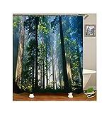 Daesar Vintage Duschvorhang aus Polyester-Stoff Wald Antischimmel 3D Duschvorhang 165x200CM