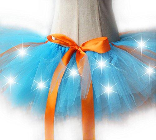 �dchen Kinder Tutu Kleid Leucht Kostüm Kleider Regenbogen Mini Rock Party Skirt Tulle für Karneval Weihnachten Rosenmontag Design I (Regenbogen-tutu Halloween Kostüm)