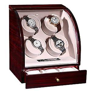 CHIYODA Uhrenbeweger für 4 Uhren + 3 Lagerposition, Automatische Quad Uhrenbeweger mit 4 Unabhängige Leisem Mabuchi Motor und LCD-Digitalanzeige Berühren – 12 Modus