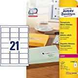 AVERY Zweckform L7560-25 Adress-Etiketten (A4, 525 Etiketten, 63,5 x 38,1 mm, 25 Blatt) transparent