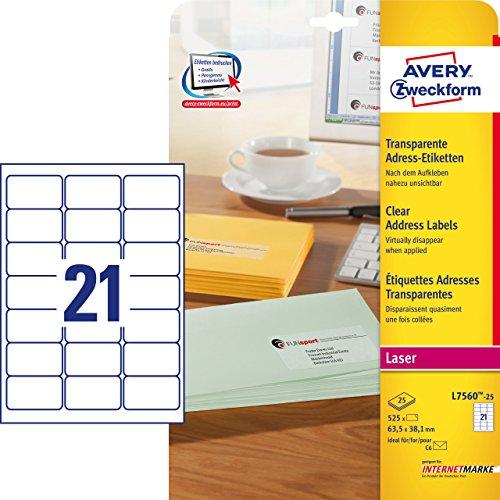 Avery Zweckform, L7560-25, 25 fogli, Etichette trasparenti 63,5 x 38,1 mm