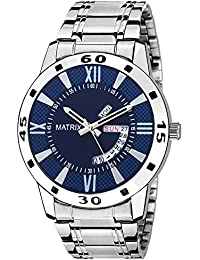 Matrix Silvermine Analog Blue Dial Wrist Watch Day And Date Display For Men & Boys- DD9-BL-ST