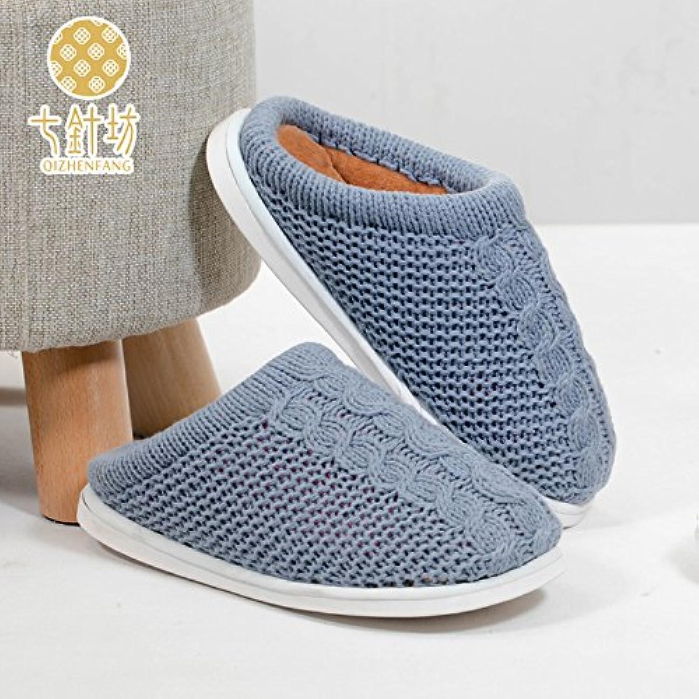 Línea trenzada habuji zapatos zapatillas de algodón cálidos interiores home mujer invierno grueso, de 44 años,...