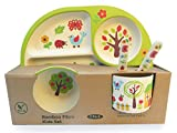 Vajilla de bambú bebé e Infantil, Material ecológico sin BPA. Plato con Compartimentos, Apto para lavavajillas (Jardín)