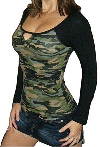 Femmes sexy ras du cou à manches longues camouflage d'impression Brochage Slim T-shirt Chemisier Vert
