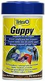 Tetra Guppy (Hauptfutter für Guppys und andere lebendgebärende Zahnkarpfen, Miniflocken mit Farberstärkern), 100 ml Dose
