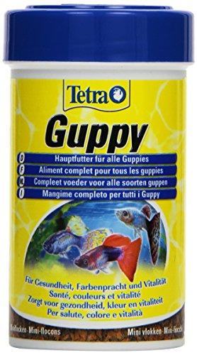 Tetra Guppy Hauptfutter für Guppys und andere lebendgebärende Zahnkarpfen, Miniflocken mit Farberstärkern, 100 ml Dose