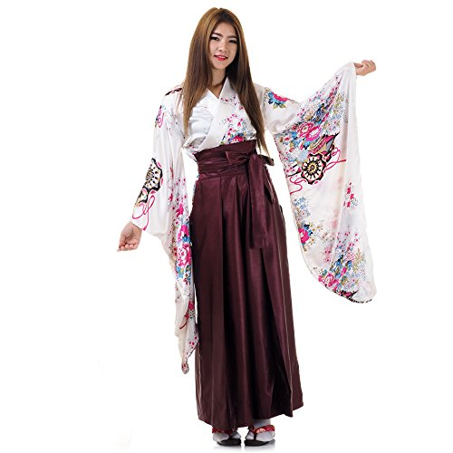 Japan Damen Geisha Samurai Asia Kostüm Kimono Bluse + Hakama Hosenrock (Weiß & Weinrot)
