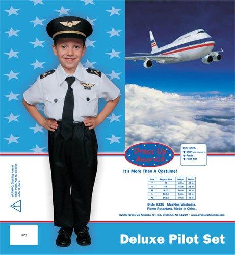Imagen de dress up america  disfraz de piloto deluxe para niños, talla s, 4 6 años 325 s  alternativa