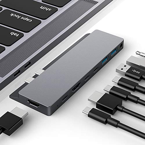 "HOTUCG USB C Hub, USB-C Hub Adapter für MacBook Pro 2018/2017/2016 13""&15\"", MacBook Air 2018 13\"", 8 in 1 USB C Adapter Hub mit 2 HDMI 4K, 3 Type C + 2 USB C 3.0 Ports, 1 3,5mm-Audio Port, Spacegrau"