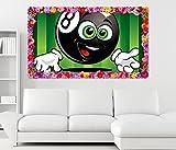 3D Wandtattoo Sport Billard Kugel Kinderzimmer Blumen Rahmen Wandbild Tattoo Wohnzimmer Wand Aufkleber 11L1339, Wandbild Größe F:ca. 97cmx57cm
