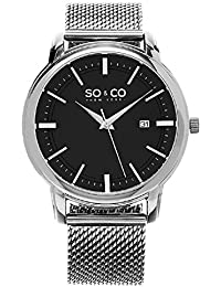 SO & CO New York Madison Men's Quartz Watch with Black Dial Analogue Display and Silver Stainless Steel Bracelet 5207.2