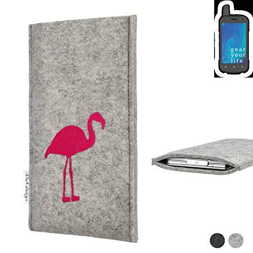 flat.design Handy Hülle für Ruggear RG720 FARO mit Flamingo Filz Schutz Tasche fair handgemacht Case