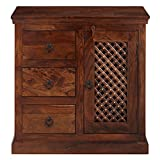 #10: VINTAGE Smart and Stylish Sheesham Solid Wood Cabinet with 3 Drawers in Standard Size & Weight (Brown)