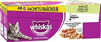 Whiskas Set de 48 Sachets Fraîcheur Envies Gourmandes Sélection aux Viandes/Poissons en Sauce pour Chat 85 g