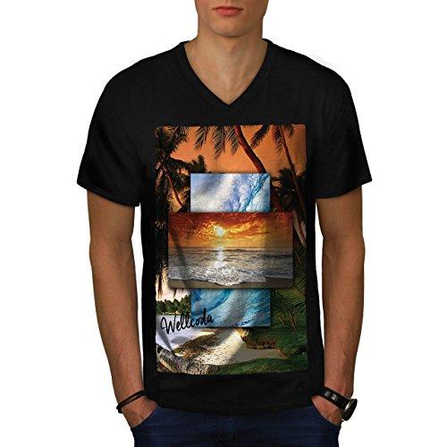 vintage-sunny-beach-holiday-love-men-new-black-m-v-neck-t-shirt-wellcoda