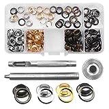 Yakamoz botones de presión Kit de anillas con 120con ojales remache costura metal, Claveles Craft con herramienta de fijación para la ropa de tela y