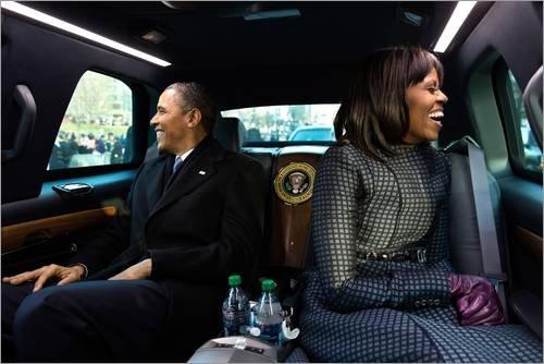 Posterlounge Acrylglasbild 90 x 60 cm: Präsident Barack Obama und First Lady Michelle Obama von Everett Collection - Wandbild, Acryl Glasbild, Druck auf Acryl Glas Bild (Barack Obama-glas)