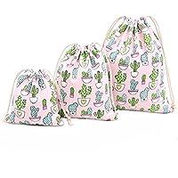 itemer 3tamaños algodón de colores cordón bolsas Natural con cordón bolsa de mochila