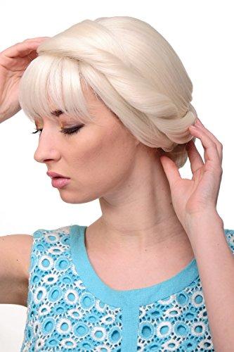 Frozen Perücken Disney (WIG ME UP - Damenperücke Perücke märchenhaft traditionell geflochtener Zopf Dutt weißblond platin)
