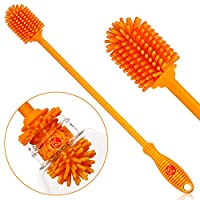 """Silicone Bottle Brush - One 12.5"""" Bottle Cleaner for your Hydro flask, Sports Bottle, Vase, and Glassware - Best Antibacterial Water Bottle Cleaning Brush for Washing Narrow Neck Containers"""