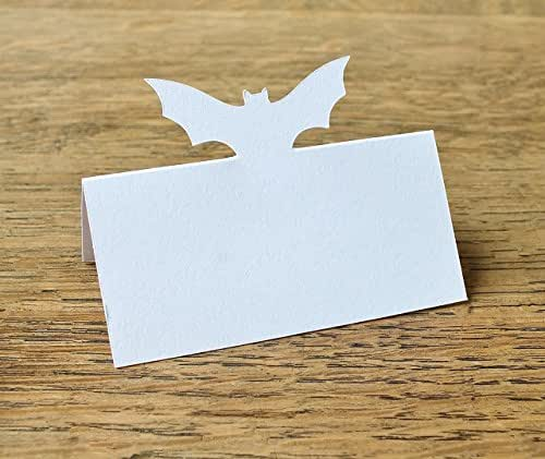 White Bat Wedding Place Cards Halloween Table Guest Names Set Of