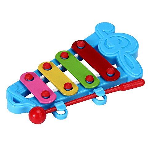 Oksea Kinder Glockenspiel Xylophone Töne aus Holz unter Jahren oder mehr Babykind 4-Note Xylophon Musikspielzeug Weisheitsentwicklung (Blau)