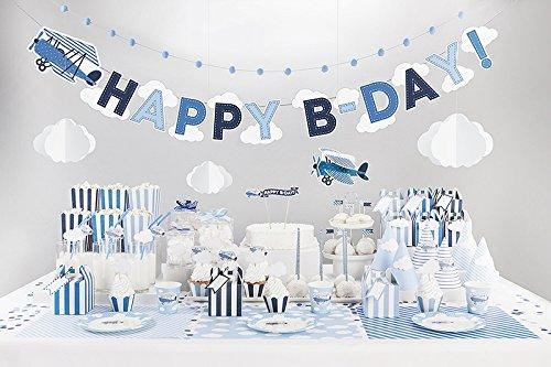 .Geburtstag Kindergeburtstag Flugzeug blau für 12 Personen (116 teilig) (Blau Flugzeug)
