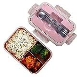 Boîtes Bento, Bento Box Lunch Box, blé naturel 1000 ml de sécurité LeakProof Boîte de conservation avec baguettes, cuillère pour enfants adultes, au micro-ondes, passe au lave-vaisselle, Green