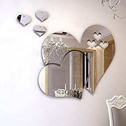 Bodhi2000 Home 3D Removable Heart Art Mirror Wall Stickers Living Room Art Decal Decoration