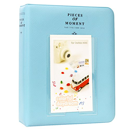 Cpano 64 Pockets Photo Album pour Fujifilm Instax Mini 8 7s 8+ 9 25 26 50s 90 Polaroid Films & Nom Card (Bleu)
