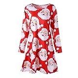 Vêtements LILICAT Robe de fête des femmes en mousseline de soie imprimée de fête des femmes mini-robe à manches longues (Red-66, L)