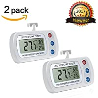 Fridges Thermometer AIGUMI Digital Waterproof Fridge Freezer Thermometer With Easy to Read LCD Display and Max/ (2Pack-White)