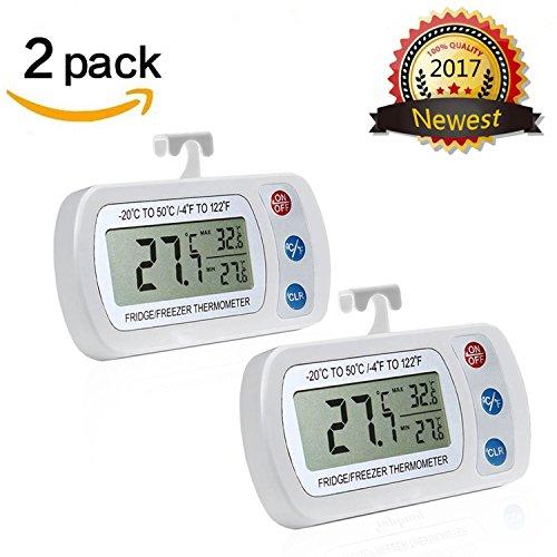 Thermomètre de réfrigérateur, Aigumi Digital étanche réfrigérateur congélateur Thermomètre avec écran LCD facile à lire et max/ 2Pack-White