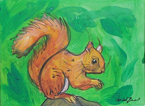 Das Eichhörnchen-Acrylbild auf Leinwandpapier, Größe cm24x18x0,3 cm, handgefertigt, Made in Italy, hergestellt von Painter Davide Pacini, Toskana, Lucca.zertifiziert. Bereit, an die Wand zu hängen. (Platz Geburtstag-platten)