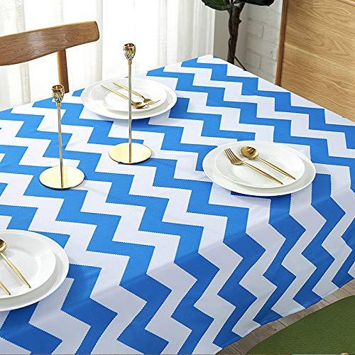 Abwaschbar, Leinen Tischtuch, Weißweizen Stickerei, Blau Wellig Gestreift Minimalistische Quadratische Tischdecke, Küche/Restaurant/café/Picknick/Abendessen 140x180cm ()