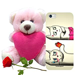 Valentine Gift Homesogood A Part of Love Grey 3D Mobile Case for iPhone 5 / 5S (Back Cover) with Teddy & Red Rose