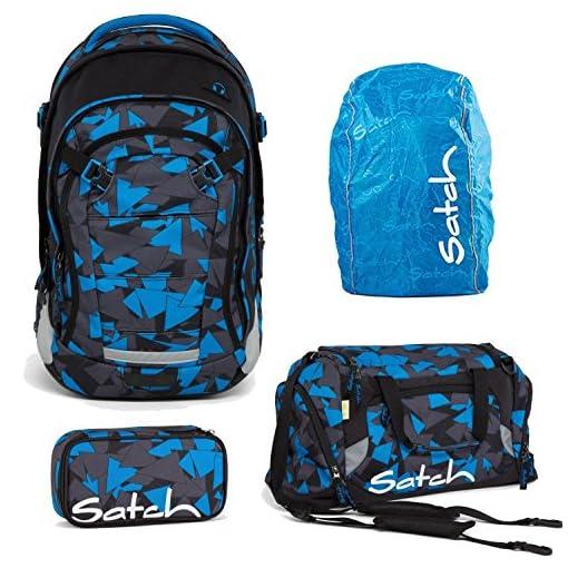 641ca49f2167a Satch MATCH by Ergobag Blue Triangle 4-tlg. Set Schulrucksack + Sporttasche  + Schlamperbox inkl. Geodreieck + Regenhaube Blau - Wächst mit bis 180cm ...