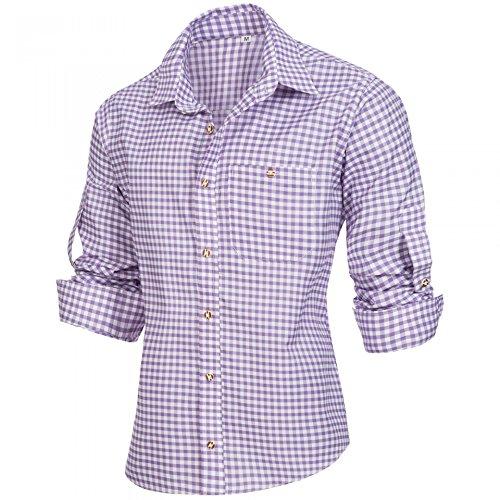 PAULGOS Trachtenhemd Kariert in 6 Farben Gr. S-5XL mit Krempelärmeln, Größe:4XL, Farbe:Lila